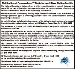 Notification of Proposed nbnTM Radio Network Base Station Facility The National Broadband Network (n...