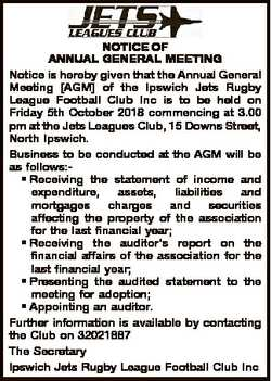 NOTICE OF ANNUAL GENERAL MEETING Notice is hereby given that the Annual General Meeting [AGM] of the...