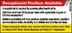 6873710aa Receptionist Position Available A receptionist is required for growing allied health clini...