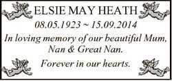 ELSIE MAY HEATH 08.05.1923  15.09.2014 In loving memory of our beautiful Mum, Nan & Great Nan. F...
