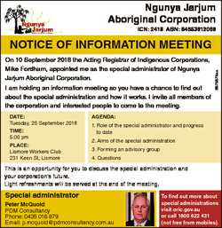 Ngunya Jarjum Aboriginal Corporation ICN: 2418 ABN: 84653612066 On 10 September 2018 the Acting Regi...