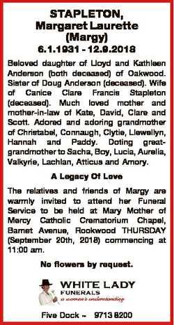 STAPLETON, Margaret Laurette (Margy) 6.1.1931 - 12.9.2018 Beloved daughter of Lloyd and Kathleen And...