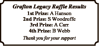 Grafton Legacy Raffle Results   1st Prize: A Hanson 2nd Prize: S Woodroffe 3rd Prize: A Carr...