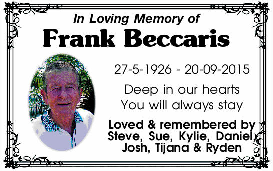 In Loving Memory of Frank Beccaris