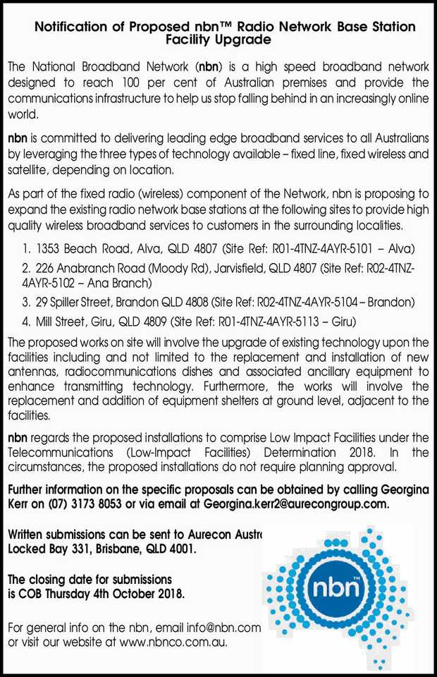 Notification of Proposed nbn Radio Network Base Station Facility Upgrade 
