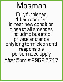 Fully furnished 1 bedroom flat in near new condition close to all amenties including bus stop pri...