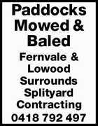 Paddocks Mowed & Baled