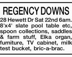 REGENCY DOWNS 28 Hewett Dr Sat 22nd 6am. 8'x4' slate pool table etc, spoon collection...