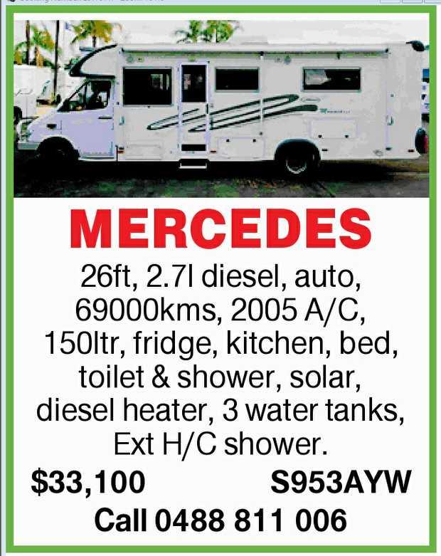 26ft, 2.7l diesel, auto, 69000kms, 2005 A/C, 150ltr, fridge, kitchen, bed, toilet & shower, s...