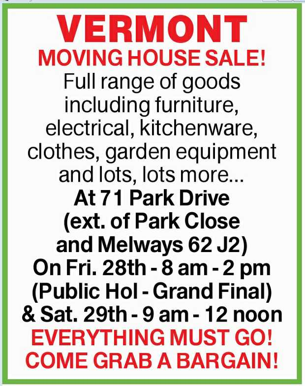MOVING HOUSE SALE!    Full range of goods including furniture, electrical, kitchenware, cloth...