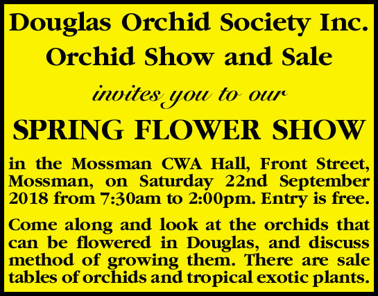 Douglas Orchid Society Inc. Orchid Show and Sale invites you to our SPRING FLOWER SHOW in the Mos...