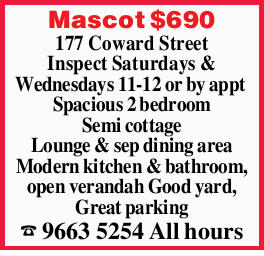 177 Coward Street Inspect Saturdays & Wednesdays 11-12 or by appt Spacious 2 bedroom Semi cot...