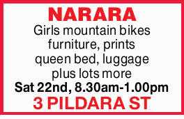 Girls mountain bikes furniture, prints queen bed, luggage plus lots more Sat 22nd, 8.30am-1...