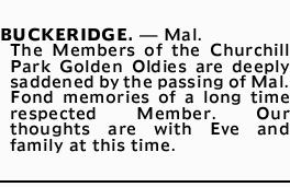 BUCKERIDGE  - Mal  | Death Notices | Melbourne | The Advertiser