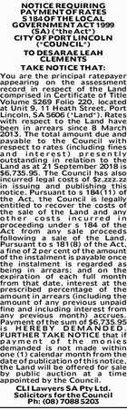 NOTICE REQUIRING PAYMENT OF RATES