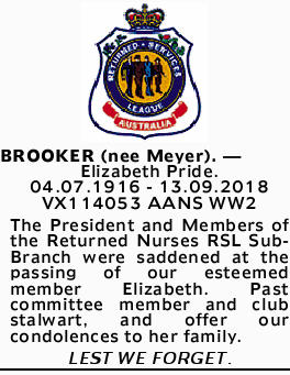 BROOKER (nee Meyer). _ Elizabeth Pride.   04.07.1916 - 13.09.2018   VX114053 AANS WW2  ...