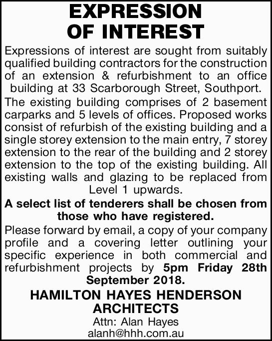 Expressions of interest are sought from suitably qualified building contractors for the construct...