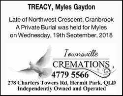 Late of Northwest Crescent, Cranbrook   A Private Burial was held for Myles on Wednesda...