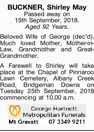 BUCKNER, Shirley May