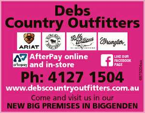 AfterPay online and in-store LIKE OUR FACEBOOK PAGE Ph: 4127 1504 6875204aa Debs Country Outfitters...