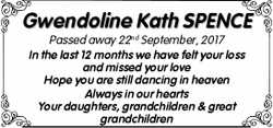 Gwendoline Kath SPENCE  Passed away 22nd September, 2017  In the last 12 months we...