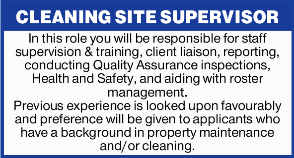 CLEANING SITE SUPERVISOR