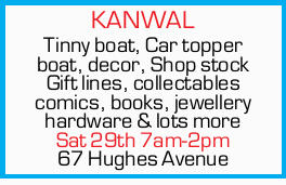 <p> Tinny boat, Car topper boat, decor, Shop stock Gift lines, collectables comics, books...