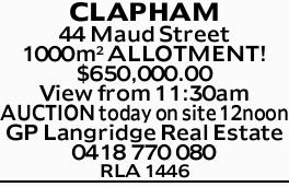 View from 11:30am   AUCTION today on site 12noon   GP Langridge Real Estate   0418770...