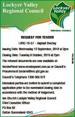 Lockyer Valley Regional Council REQUEST FOR TENDER LVRC-18-57 - Asphalt Overlay The relevant documen...