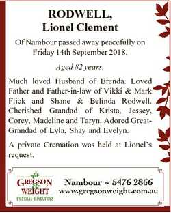 RODWELL, Lionel Clement Of Nambour passed away peacefully on Friday 14th September 2018. Aged 82 yea...
