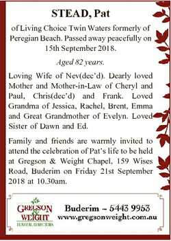 STEAD, Pat of Living Choice Twin Waters formerly of Peregian Beach. Passed away peacefully on 15th S...