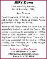 Died peacefully Saturday, 8th of September, 2018. Aged 78 years.   Dearly loved wife of Bill...