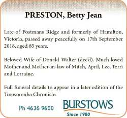 PRESTON, Betty Jean Late of Postmans Ridge and formerly of Hamilton, Victoria, passed away peacefull...