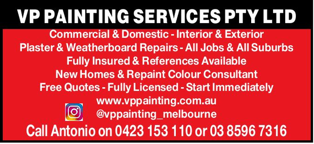 VP Painting Services offer:Commercial and Domestic, Interior and ExteriorPlaster & weatherboard...