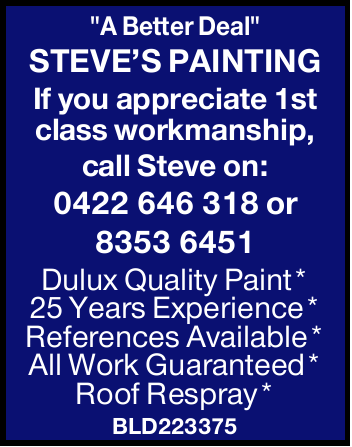 """""""A Better Deal""""   STEVE'S PAINTING Dulux Quality Paint   25 Years Exp..."""