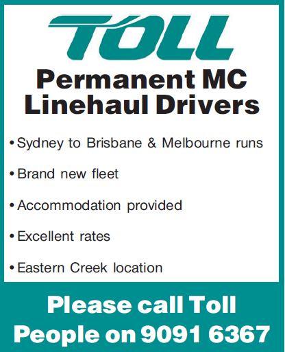 Permanent MC Linehaul Drivers   Sydney to Brisbane & Melbourne runs   Brand new fleet...