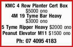 KMC 4 Row Planter Cert Box $5000 ono   4M 19 Tyme Bar Heavy $3000 ono   5 Tyme Ripper Hea...
