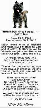 THOMPSON (Nee Edgley). - Robyn Joy