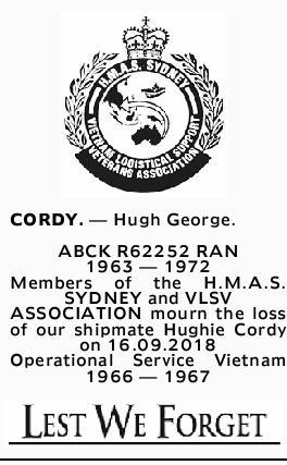 CORDY.- Hugh George.   ABCK R62252 RAN   1963- 1972   Members of the H.M....