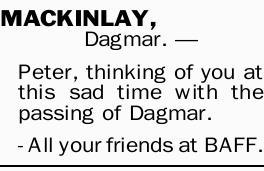 Mackinlay Dagmar Death Notices Notices Geelong Advertiser