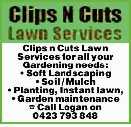 Clips n Cuts Lawn Services for all your Gardening needs: Soft Landscaping Soil / Mulch Planting,...