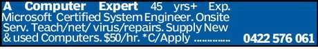 <p> A Computer Expert 45 yrs+ Exp. Microsoft Certified System Engineer. Onsite Serv.
