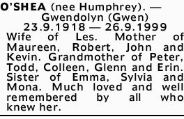 O'SHEA (nee Humphrey). - Gwendolyn (Gwen)