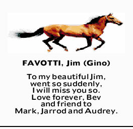 FAVOTTI, Jim (Gino)   To my beautiful Jim, I will miss you so.   Love forever, Bev and fr...