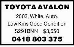 TOYOTA AVALON   2003, White, Auto. Low Kms   Good Condition   S291BNN $3,650