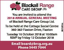 Email board@brcg.org.au Phone 5445 7044 6874267aa You are invited to attend the 2018 ANNUAL GENERAL...