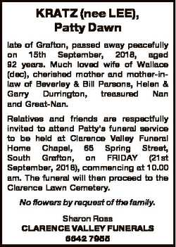 KRATZ (nee LEE), Patty Dawn late of Grafton, passed away peacefully on 15th September, 2018, aged 92...