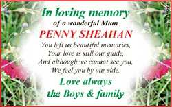 of a wonderful Mum PENNY SHEAHAN You left us beautiful memories, Your love is still our guide, And a...