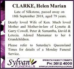 CLARKE, Helen Marian Late of Silkstone, passed away on 18th September 2018, aged 79 years. Dearly lo...