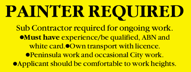PAINTER REQUIRED